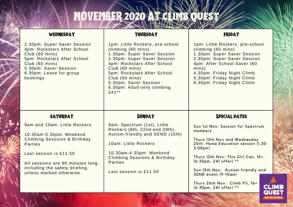 November schedule at Climb Quest Milton Keynes